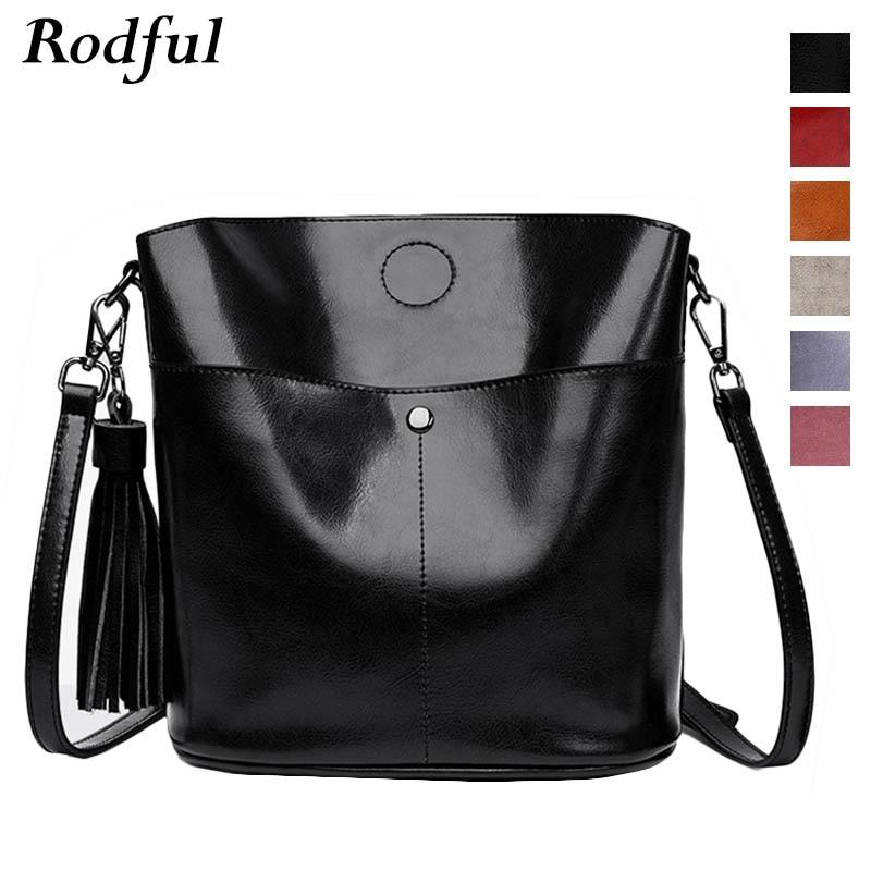 Rodful Leather Bucket Bag Tassel Vintage Shoulder Messenger Bag Women's Handbags Ladies Black Small Crossbody Bags For Women Sac