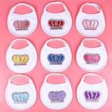 baby bibs burp cloths with rhinestone crown white color 100% cotton babador saliva towel