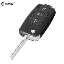 KEYYOU 10 قطعة/الوحدة 3 أزرار للطي الوجه التحكم عن بعد قذيفة حافظة مفاتيح السيارة ل VW Volkswagen جيتا جولف باسات بيتل بولو بورا