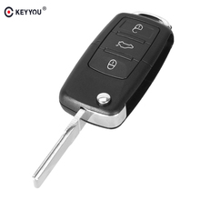 KEYYOU 10pc/lot 3 Buttons Folding Flip Remote Control Shell Car Key Case For VW Volkswagen Jetta Golf Passat Beetle Polo Bora