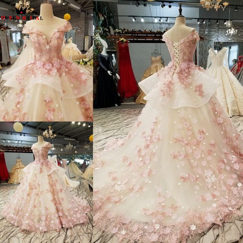 Pink Champagne Ball Gown Evening Dresses Fluffy Crystal Beaded 3D Flowers 2018 Real Photo Robe De Soiree Party Dress DW07