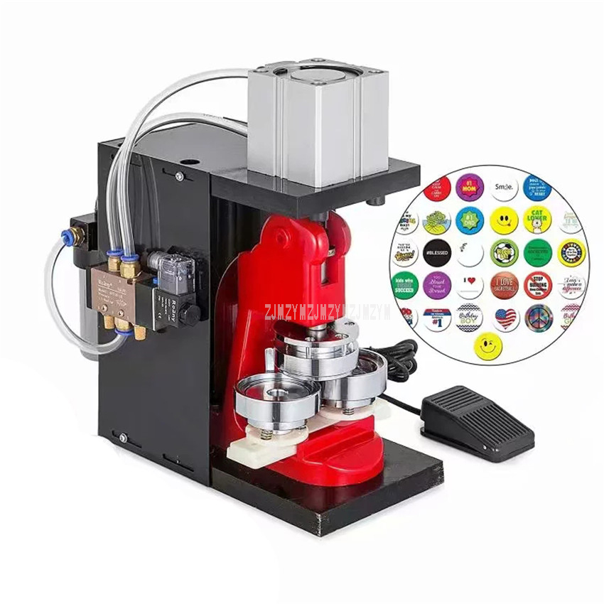 0.5W Penumatic Badge Making Machine 25/32/37/44/50/56/58/70/75MM Badge Maker Pin Button Press Cutter Making Machine 800pcs/hour