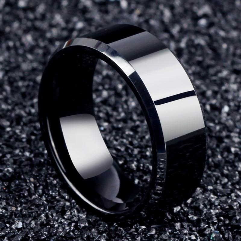 2017 mode bijoux breloque anneau hommes en acier inoxydable noir anneaux pour femmes