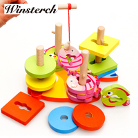 2016 Fishing Magnetic Wooden Baby Toys Jenga Game Hit Miniature Children Kids Assembled Toy Gifts ZS070