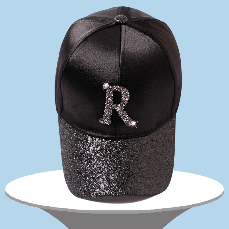 52b6094e9b0 Letter Rhinestone Sequins Brim Silk Baseball Caps 2018 New Summer Female  Shine Snapback Hats Fashion Hip