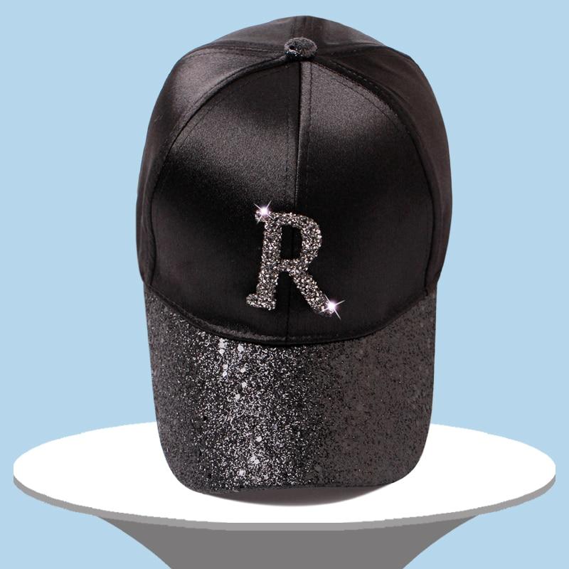 9ac6b326356 Letter Rhinestone Sequins Brim Silk Baseball Caps 2018 New Summer Female  Shine Snapback Hats Fashion Hip hop Hat Men Women s Cap