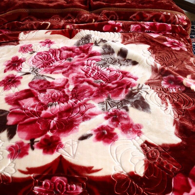 Темно коричневый цветочный Корона со стразами Рашель Одеяло двойной Слои супер мягкие одеяла с тиснением; зимняя теплая кровать для взросл... - 3