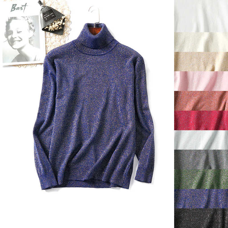 여자 터틀넥 스웨터 반짝 이는 니트 양모 풀오버 터틀넥 따뜻한 패션 여성 길어야 긴 소매 느슨한 캐주얼 기본 스웨터