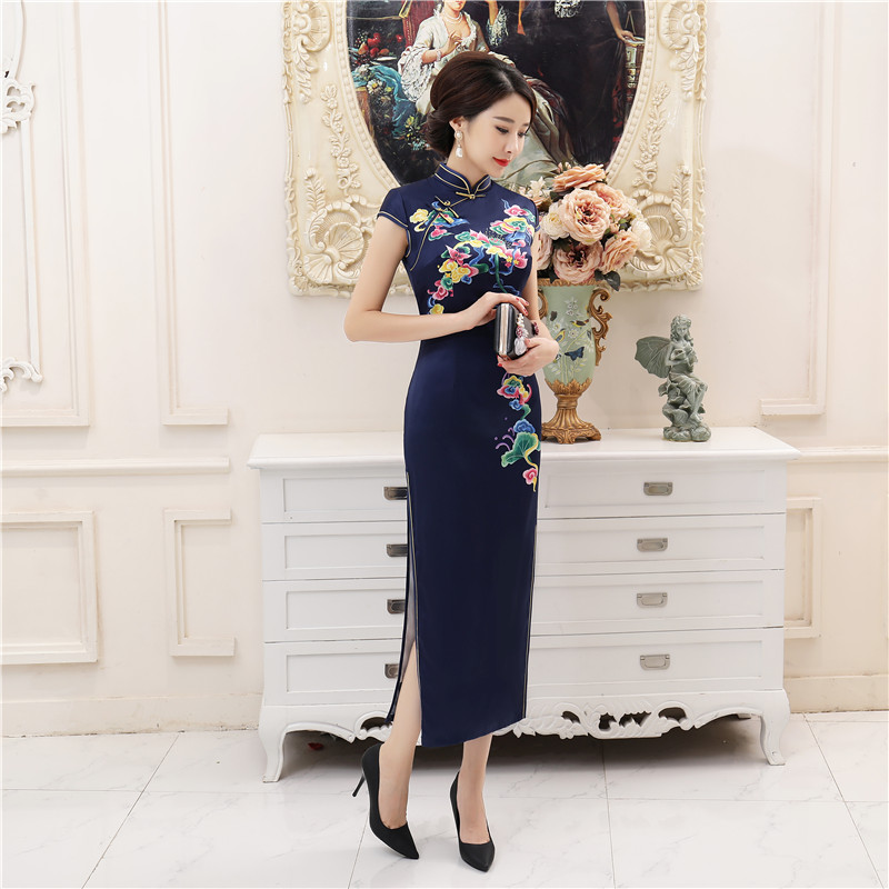New Arrival Silk Satin Vintage Print Flower Slim Long Cheongsam Plus Size 4XL Traditional Chinese Women Dress Lady Elegant Qipao