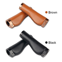 NEW 1 Pair Retro Handle Cover Bicycle Grips Lockable Bike Handle Handlebar PU Leather Cover Bicycle Grips     -