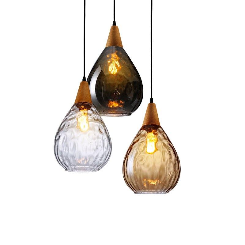 Modern Glass Pendant Light Vintage Amber Smoky Clear Glass Wood Hanging Pendant Lamp Decorative Indoor Pendant Light E27 E26Modern Glass Pendant Light Vintage Amber Smoky Clear Glass Wood Hanging Pendant Lamp Decorative Indoor Pendant Light E27 E26
