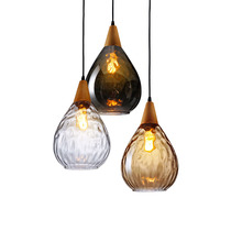 Modern Glass Pendant Light Vintage Amber Smoky Clear Wood Hanging Lamp Decorative Indoor E27 E26