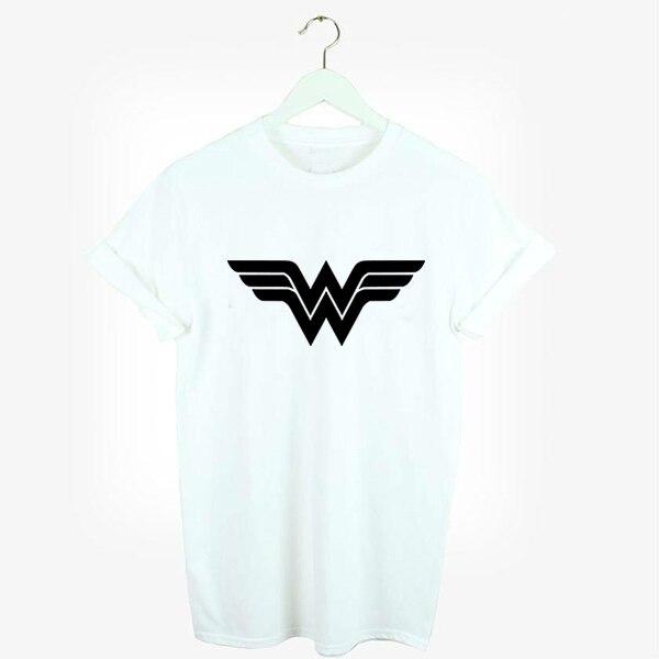 Unisex Estilo Suelto Wonder Woman Logo 2016 Verano Mujeres Letter Print T-shirt Swag Harajuku Femenina de Moda Impreso Camiseta