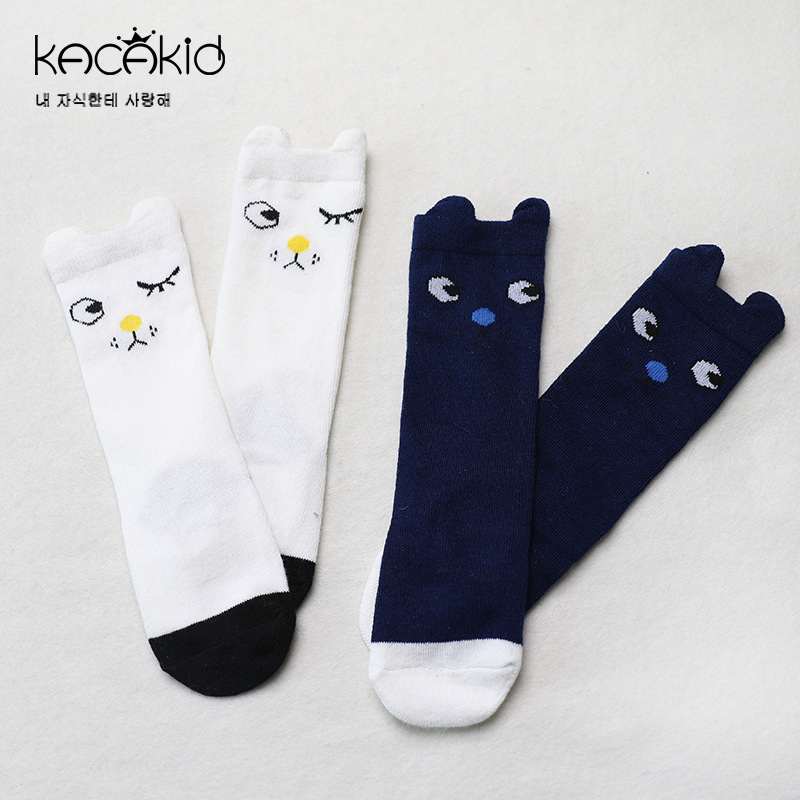 Kacakid Spring new childrens long socks baby Cartoon socks baby boy girls cotton non-sli ...