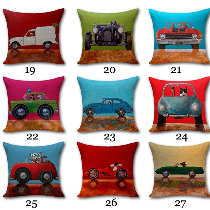 2017 Vintage Cartoon dog driving Car Series Sofa Pillow Cover Cotton Linen home Decorative Cushion Cover 45x45cm fundas cojines