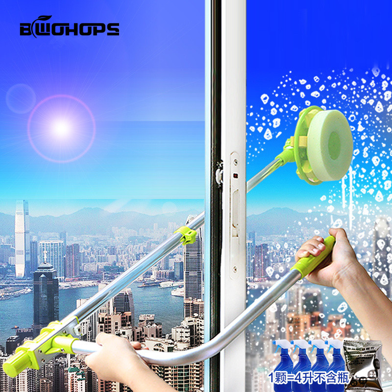Telescopic Window Cleaner Hobot Building Retractable Pole Window Device Washing Dust Brush Double Faced Glass Spin Scraper Wiper