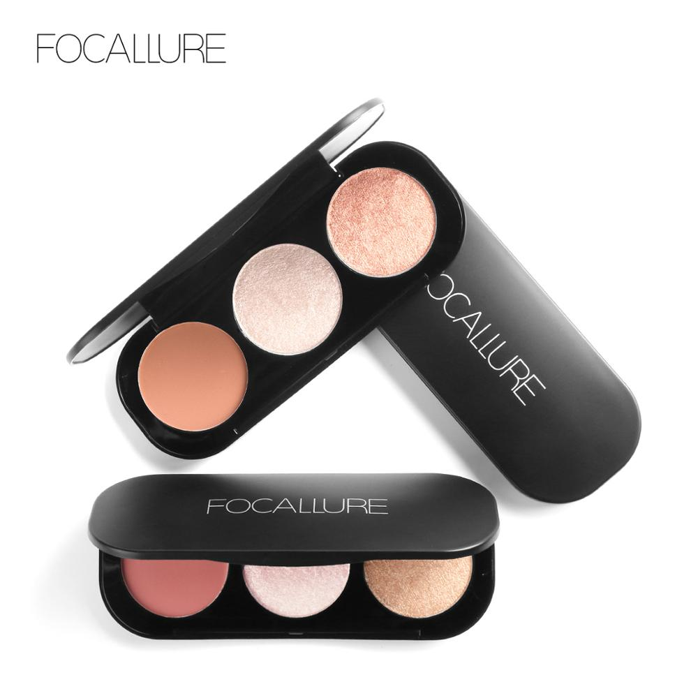 FOCALLURE Highlighter-Palette Blush Face Matte 3-Colors New Illuminated Arrivel