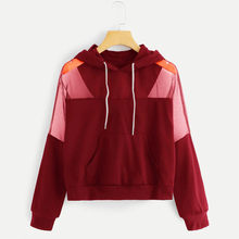 CHAMSGEND Rood Sweatshirts harajuku hoodies off White kpop Herfst Vrouwen Lange Mouwen Hollow Out Patchwork Hooded Truien F723(China)