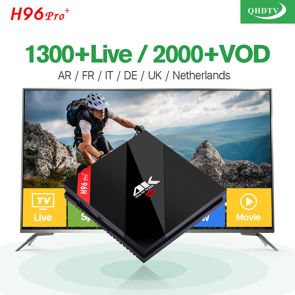 H96 Pro Plus + Android 7.1 TV Box 3G 32G S912 Octa Core 1300 Channels QHDTV IPTV Subscription Europe French Arabic IPTV Top Box amazing arabic french iptv top box 3gb 32gb t95zplus android 6 0 smart tv box s912 qhdtv subscription europe italy iptv channels