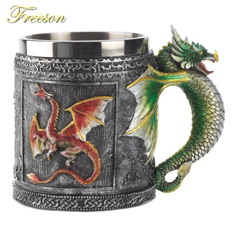 Chope à bière Dragon Résine Acier Inoxydable 350 ml