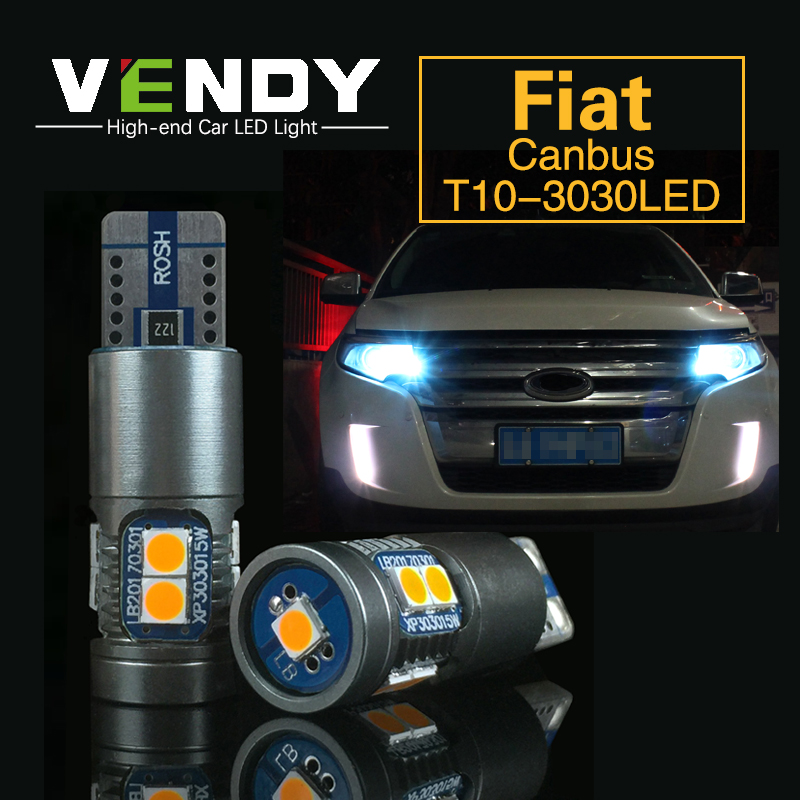 2x W5W T10 Car LED Light Canbus Bulbs Auto Parking Sidelight Clearance Lamp For FIAT 500 Punto Stilo Palio Bravo Ducato Doblo 2x t10 led w5w car led auto lamp 12v clearance parking light bulbs with projector lens for mercedes benz w203 glk r ml w204 c e