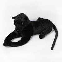 Home Decor Animal Model Simulation Black Panther Plush Toys Stuffed Leopard Dolls Birthday Gifts For Children