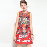 2018 summer dress women's sexy retro party long sleeveless casual work RED printed queen boho floral dresses maxi plus size