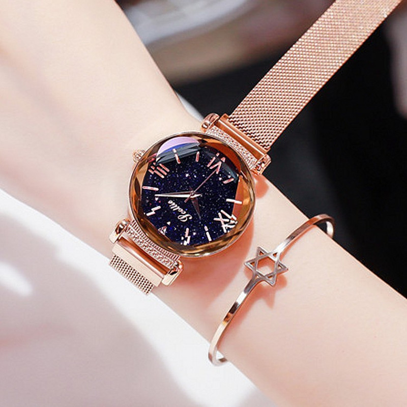 Top Brand Super Cool Women Watches Lady Rhinestone Dress Crystal Watches Fashion Mesh Belt Simple Magnet Buckle Watch Clock Girl Top