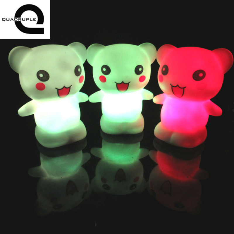 Quadruple Color Changing LED Night Light Lamp Home Kids Baby Room Wedding Decor Toy Gift Happy bear