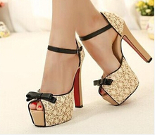 2016 spring and summer new lace bow peep toe women sandals color block platform high heels shoes pumps