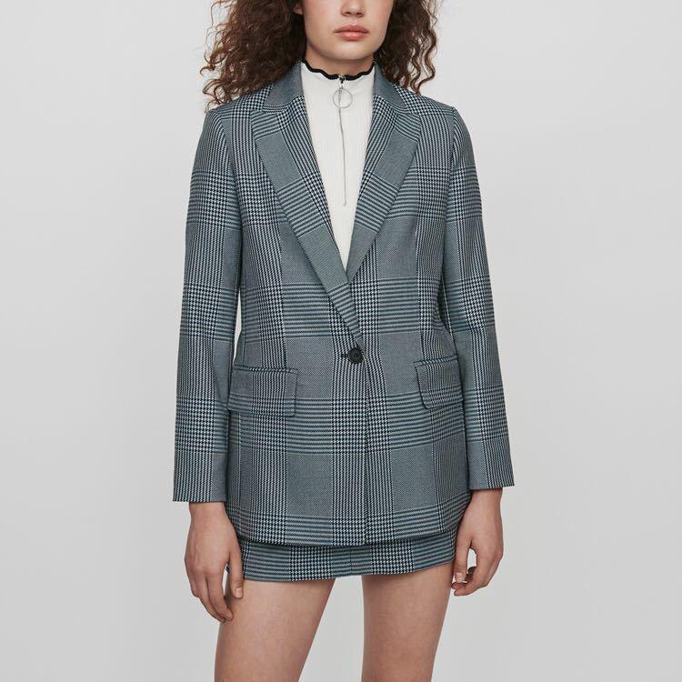 خمر سترة منقوشة V الرقبة واحدة الصدر نمط معطف-في السترات من ملابس نسائية على  مجموعة 1