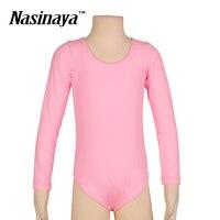 Kid Girls Rhythmic Gymnastics Leotard RG Fitness Wear Leotard Long Sleeves Ballet Dance Costume Pink Children Training Clothes