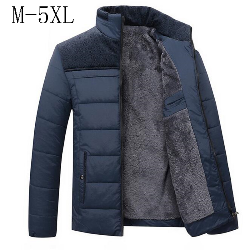 Men's Winter Jacket  New Plus Cashmere Blouson Homme Male Stand Collar Business Coat Keep Warm Thick Splice Cotton Clothing
