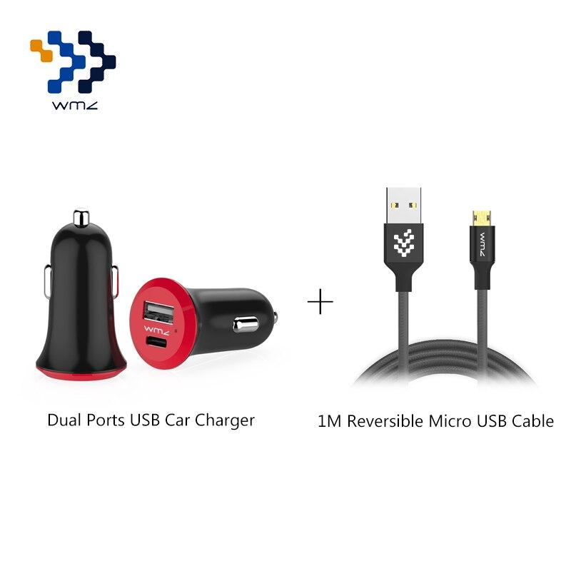 WMZ 5 V 3A Dupla Portas USB Adaptador para Carro Carregador Rápido + 1 M Micro Reversível Nylon Trançado Cabo USB para Telefones celulares Huawei P8
