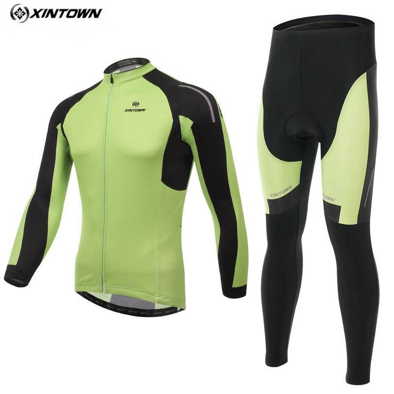 XINTOWN Men Riding Sportswear Long Sleeve Cycling Jersey Green Bike Winter Maillot Roupa Ciclismo Cycling Clothing CC0387