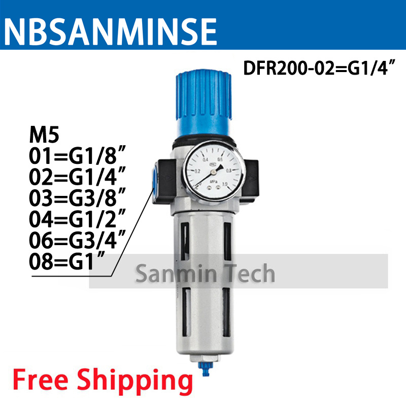 M5 1/8 1/4 3/8 1/2 3/4 1 OC DC Source Treatment Unit DFR Type Series Air Regulator Filter FRL Pneumatic Auto Drain Sanmin цена 2017