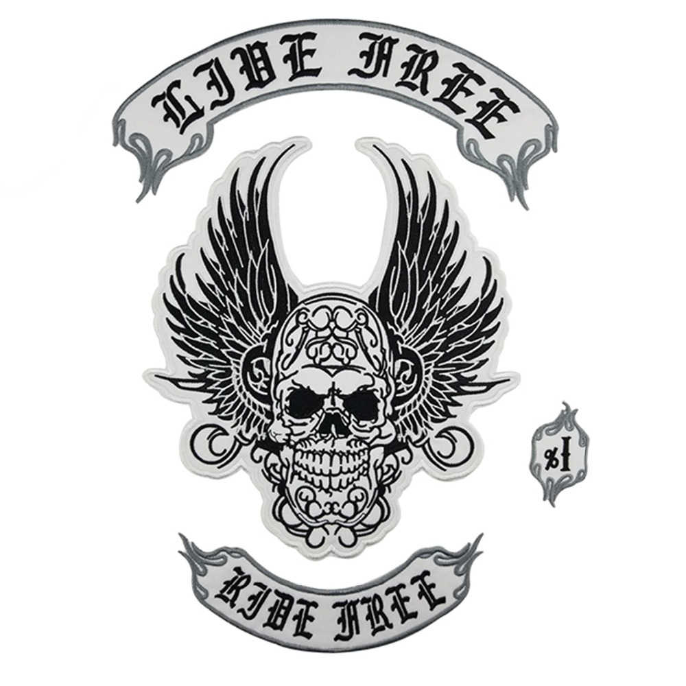 Live Free Ride Free Back Patch Skull Top Rocker Bottom Rocker