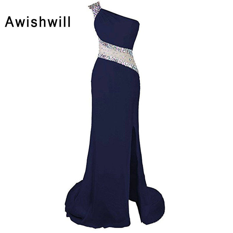 Custom Made One Shoulder Navy Blue   Prom     Dresses   Long Front Slit Beadings Chiffon See Through Back Sexy Evening   Dress   for Party