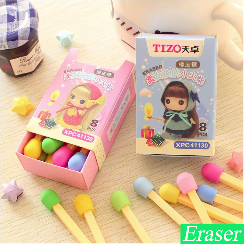 8Pcs/box Korean Mini Cute Gomme Kawaii Erasers For Kids Rubber Cartoon Kawaii Colourful Eraser Gomas De Borrar Stationery 00626
