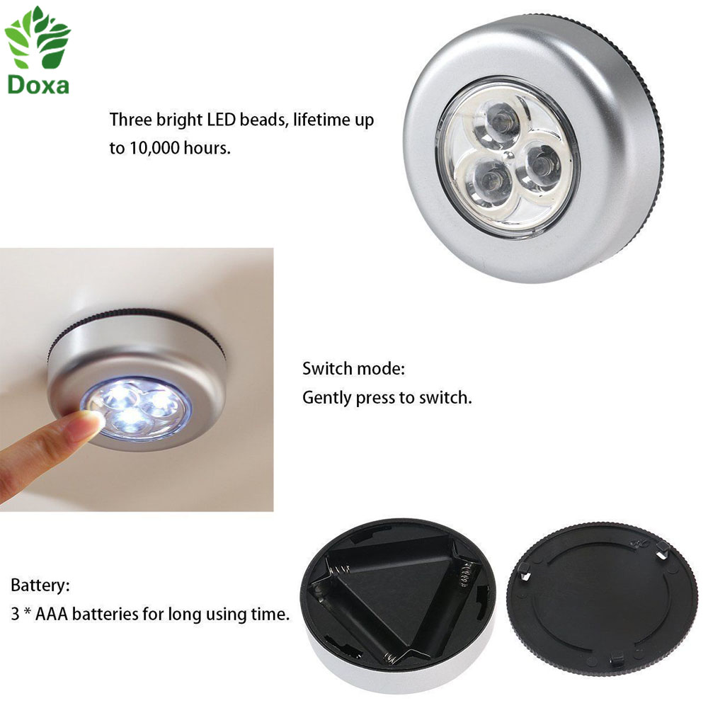 3w Led Car Light Linear Cabinet Under Cabinet Touch On Off: 3 LED Closet Cabinet Lamp AAA Battery Powered Wireless