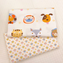 Cartoon Animal Printing Cotton Twill Fabric Patchwork Textile DIY Sewing Quilted Child Bed Clothing