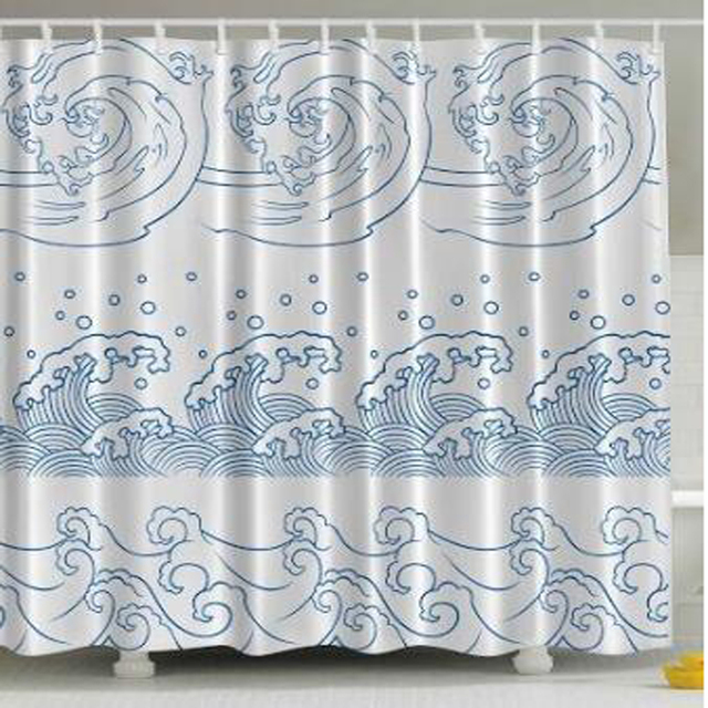 Abstract Shower Curtain Nautical Japanese Decor Illustration Of Ocean Seaside Great Wave Off Stormy Tropical Kanagawa Inspired