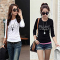 Korean Autumn harajuku t shirt women Crew Neck Polyester slim tshirts Long Sleeve Bottoming Shirt Tops Tees Clothing Plus size