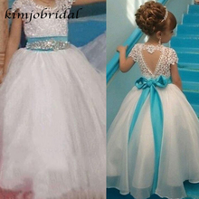 SuperKimJo white little flower girls dresses wedding dress ball gown bowknot crystal long party