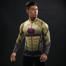 Cosplay Costume Reverse Flash 3D Printed T-shirts Men Raglan Long Sleeve Compression Shirt Fitness Clothing Male Tops Halloween(China)