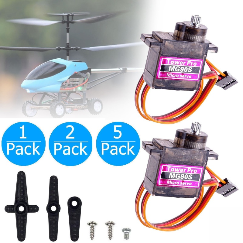 1~5x MG90S Micro Servo Metal Gear High Speed for RC Helicopter Airplane Boat Car