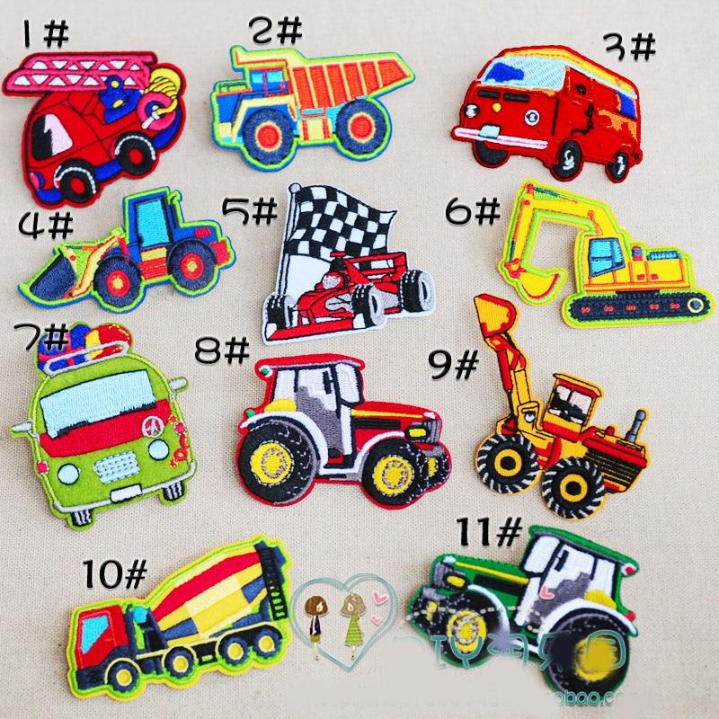 11 unids / lote Parches Bordados de Dibujos Animados Lindo coche camión excavadora dumpers hierro decorativo en ropa parche ropa