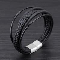 New Arrival Men Bracelet Multilayer Black Genuine Leather Rope Chain Weave Wrap Bracelets Vintage Punk Jewelry