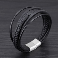 New Arrival Men Bracelet Multilayer Black Genuine Leather Rope Chain Weave Wrap Bracelets Vintage Punk Jewelry