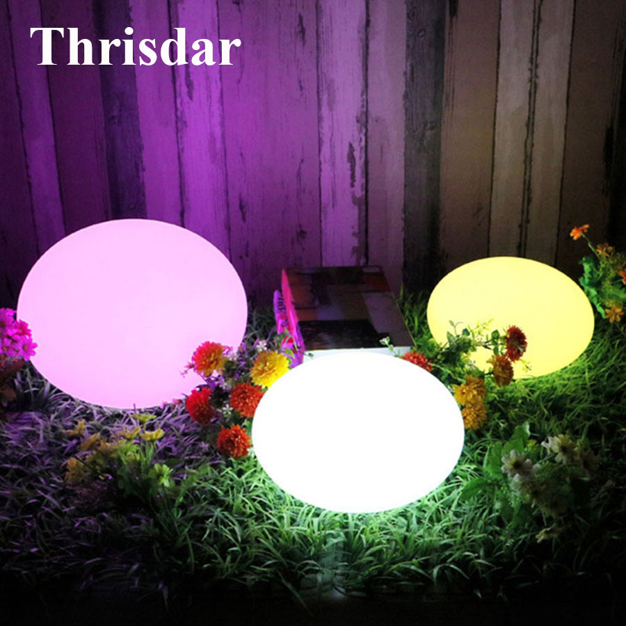 Thrisdar IP68 Waterproof Floating Flat Ball Light 16 Color Rechargeable Swimming Pool Party Ball Lights Outdoor